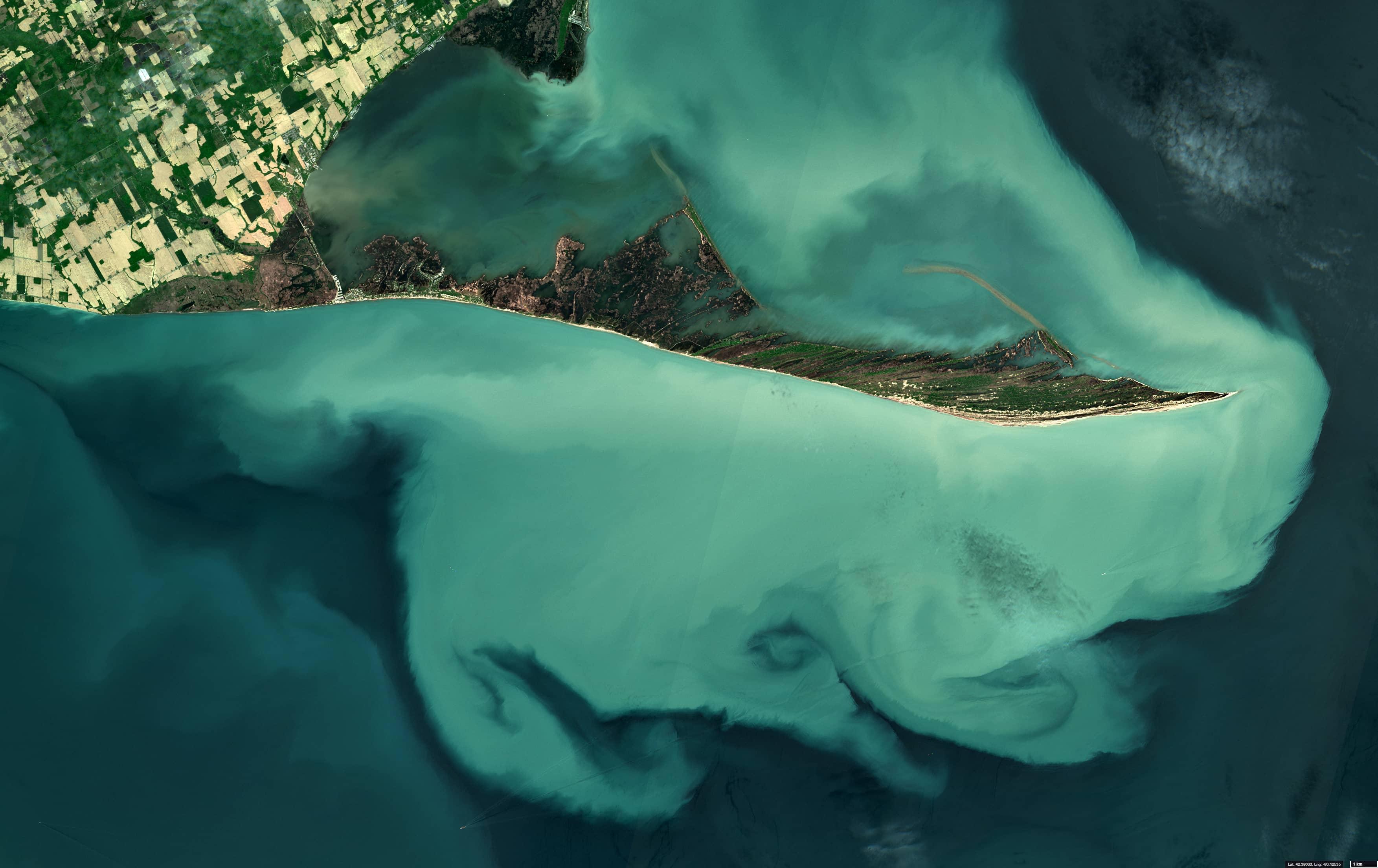 Sediment plume in Lake Erie